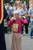 Children and parishioners Ukrainian Orthodox Church Moscow Patriarchate during religious procession. Kiev, Ukraine Royalty Free Stock Photography