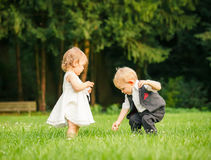 Children in the park. Little boy and girl in the park Stock Images