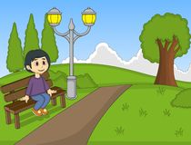 Children at the park cartoon Royalty Free Stock Photos