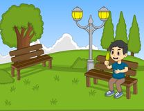 Children at the park cartoon Stock Photography
