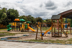Children park with games outdoors Stock Photos