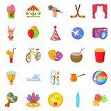 Children park icons set, cartoon style. Children park icons set. Cartoon set of 25 children park icons for web isolated on white background Stock Images