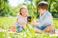 Children in park with pet Royalty Free Stock Images