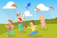Children in the park playing with colorful kites. Children in the park playing with colorful kite. Happy cute kids having fun with flying in the air kite. Vector vector illustration