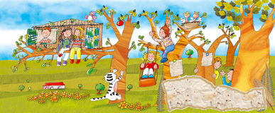 Children in the park on trees. Stock Photo