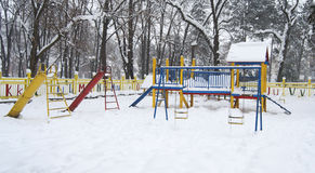 Children park under snow Stock Photo