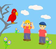 Children and Parrot. Two children looking at a red parrot Royalty Free Stock Images