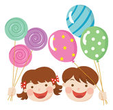Children with party balloons. Cartoon vector illustration Royalty Free Stock Image