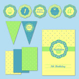 Children party decoration stationery set. Vector Royalty Free Stock Photo
