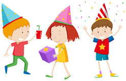 Children with party hats Royalty Free Stock Photography