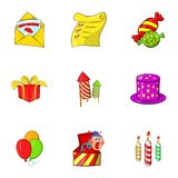 Children party icons set, cartoon style Stock Photography