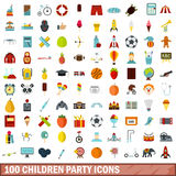 100 children party icons set, flat style Stock Photo