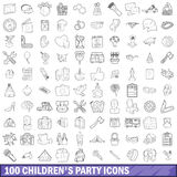 100 children party icons set, outline style Royalty Free Stock Photo