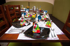 Children party tables. With micky mouse and spiderman for decorations Royalty Free Stock Photography