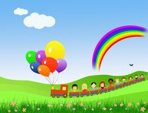 Children party train with rainbow Royalty Free Stock Photo