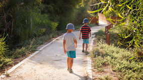 Children on a path in nature park Stock Image