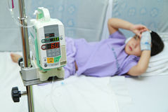 Children patient in hospital bed Stock Photography