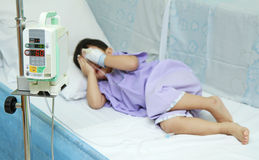 Children patient in hospital bed Royalty Free Stock Images