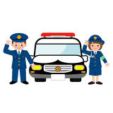 Children and patrol car Royalty Free Stock Photos