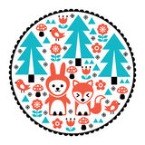 Children pattern, Scandinavian cute folk art design with nature and animals. Forest design with trees, birds, fox and rabbit - round Nordic background Stock Photography