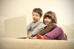 Children and  pc Stock Image
