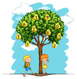 Children and pear tree with numbers Stock Photo