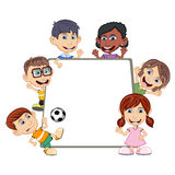 Children peeping behind placard cartoon. Full color Stock Photography