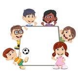 Children peeping behind placard cartoon Stock Photography