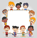 Children peeping behind placard cartoon. Full color Royalty Free Stock Photography