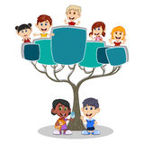 Children peeping behind tree cartoon Royalty Free Stock Images