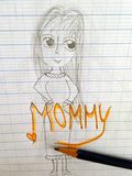 Children simple pencil drawing their belove  Mother Royalty Free Stock Photos