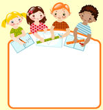 Children with pencils and rulers. mathematics. royalty free illustration