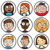 Children people face icons cartoon Royalty Free Stock Image