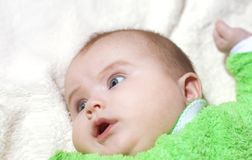 Children, people, infancy and age concept - beautiful happy baby stock photography