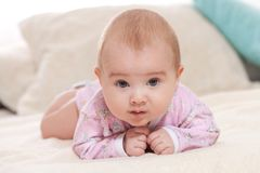 Children, people, infancy and age concept - beautiful happy baby stock images
