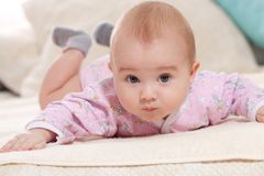 Children, people, infancy and age concept - beautiful happy baby stock image