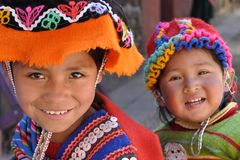 Children from Peru. August 2010, Pisaq (Peru) - Two children at the market Stock Image