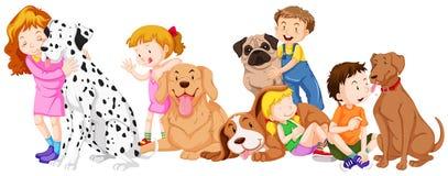 Children with pet dogs. Illustration vector illustration