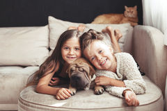 Children with pet royalty free stock photography
