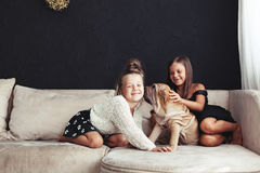 Children with pet Royalty Free Stock Images