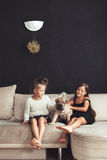 Children with pet Stock Images