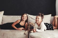 Children with pet Stock Image