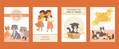 Children with pets adopt friendship cards vector illustration. Love child and cat posters. stock illustration