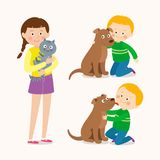 Children and pets. Child lovingly embraces his pet dog. Little dog licking boy`s cheek. Teenage girl with her cat. Best stock illustration