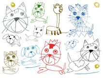 Children pets drawings isolated on white Stock Photo