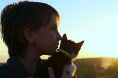 Cropped shot of a cute little girl and kitten at sunset. royalty free stock photos