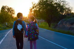Children and pets on the road. Children walking on the road together holding hands at sunset. They have their pets with them Royalty Free Stock Photo