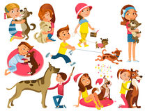 Children With Pets Set Stock Photo