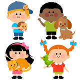 Children and pets. Vector illustration of children holding their pets: a cat, dog, a hamster and a bird stock illustration