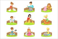 Children Petting The Small Animals In Petting Zoo Set Of Cartoon Illustrations With Kids Having Fun Royalty Free Stock Photo